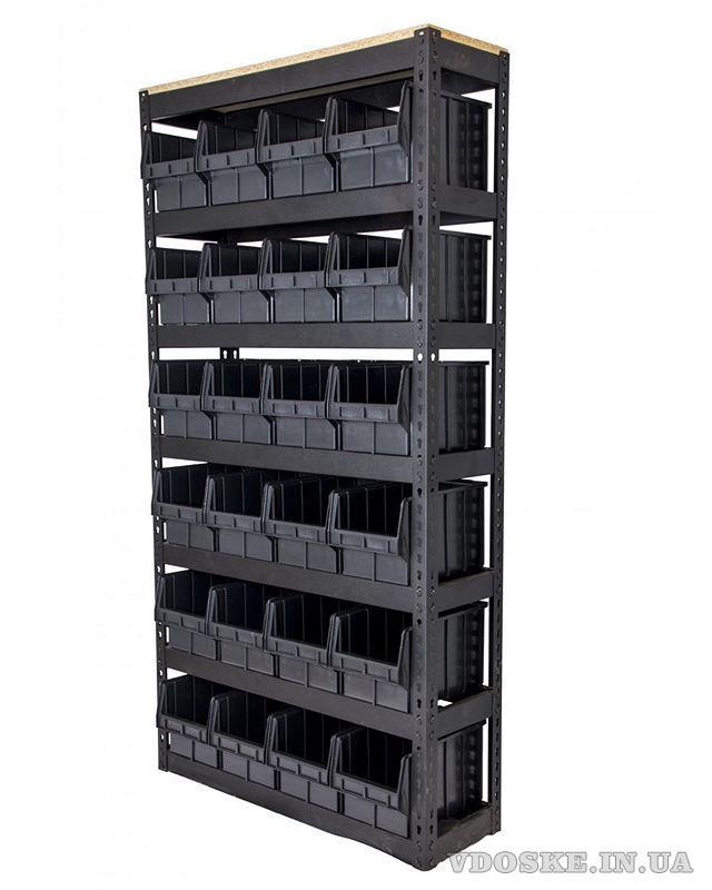 Стелажі для метизів Львів металеві складські стелажі з ящиками (3)