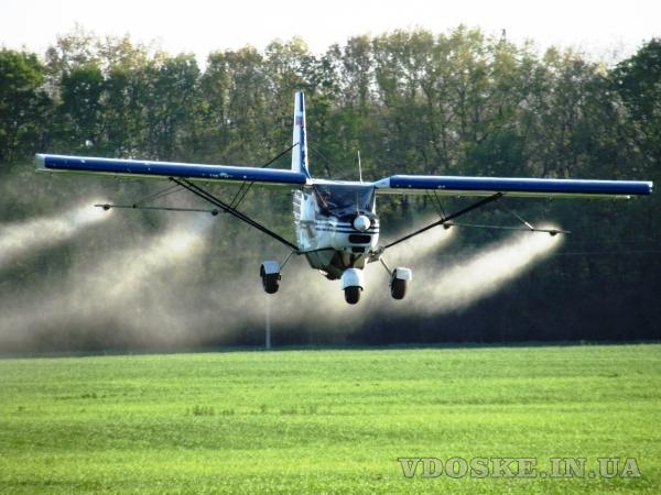 Гербицидная авиаобработка пшеницы ячменя дельтапланом самолетом