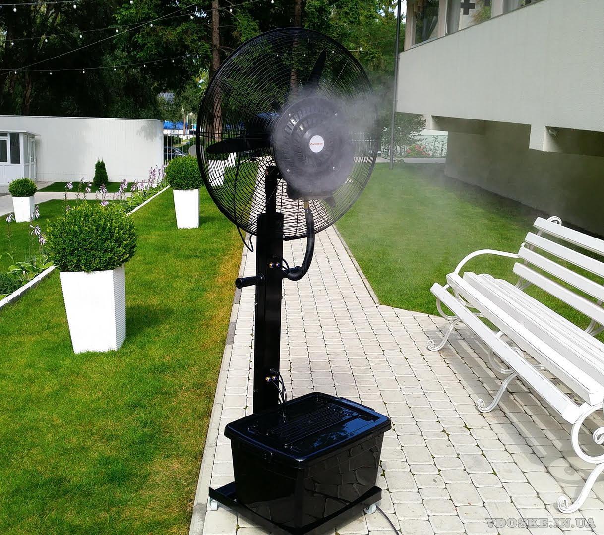 Уличные вентиляторы-увлажнители воздуха. Туманообразование